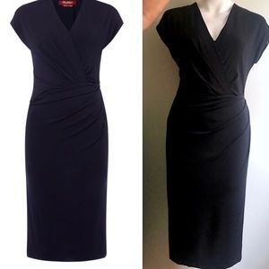 MaxMara Studio Marte Ruched Jersey Vneck Dress